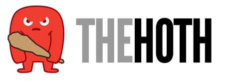 TheHoth's logo consisting of a red mascot clutching a club and with the company name written at the right in grey letters and black