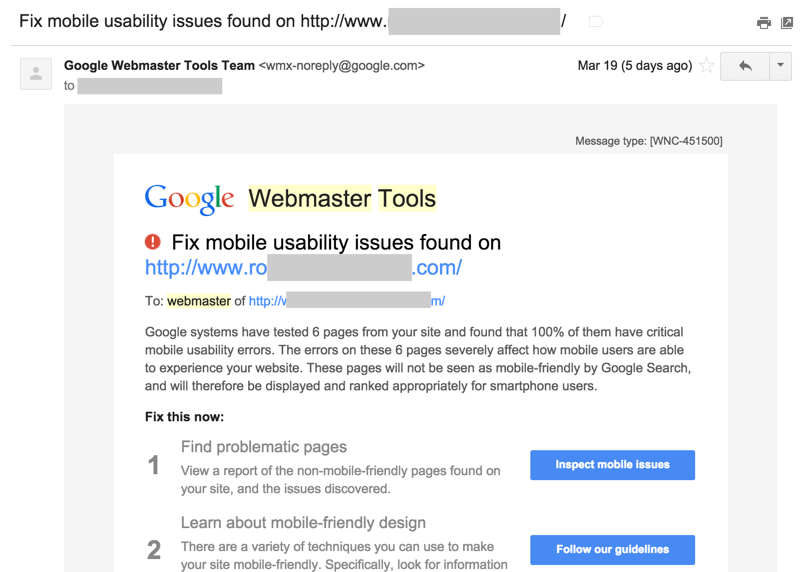 google webmaster tools warning mobility issues
