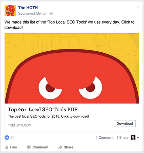 HOTH Facebook Ad Example