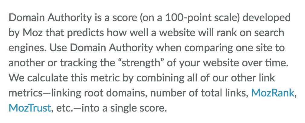 Definition of Domain Authority