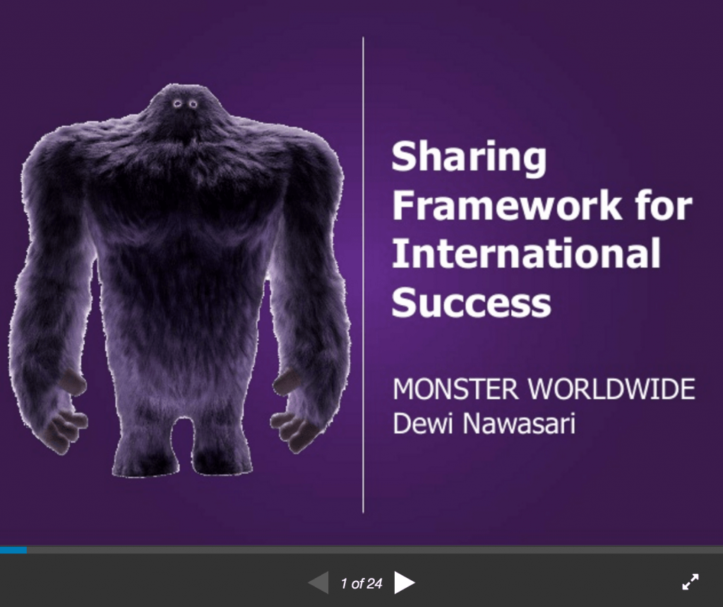 Sharing framework for international success