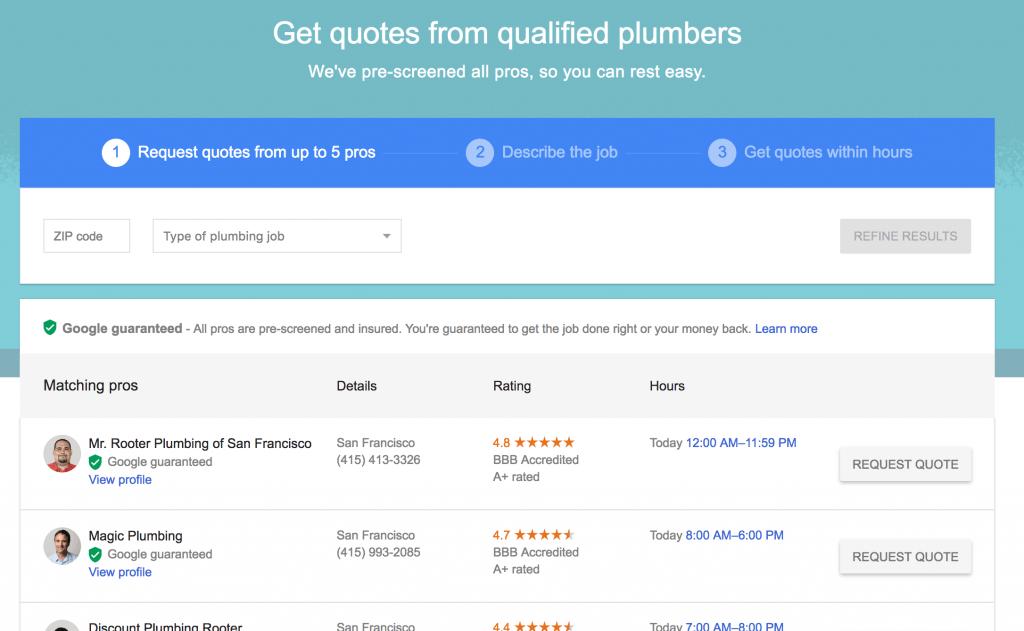 google hsa home service ads comparison