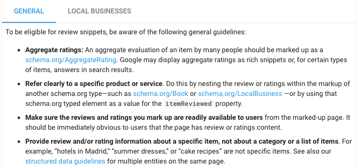 guidelines for rich snippets on business reviews
