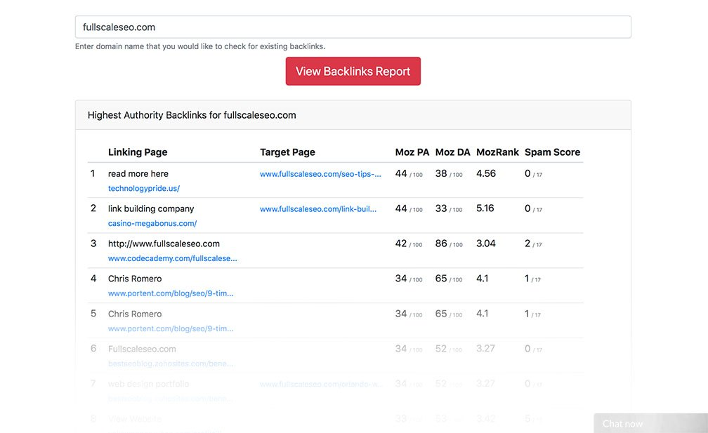 Image showing backlinks checker's work