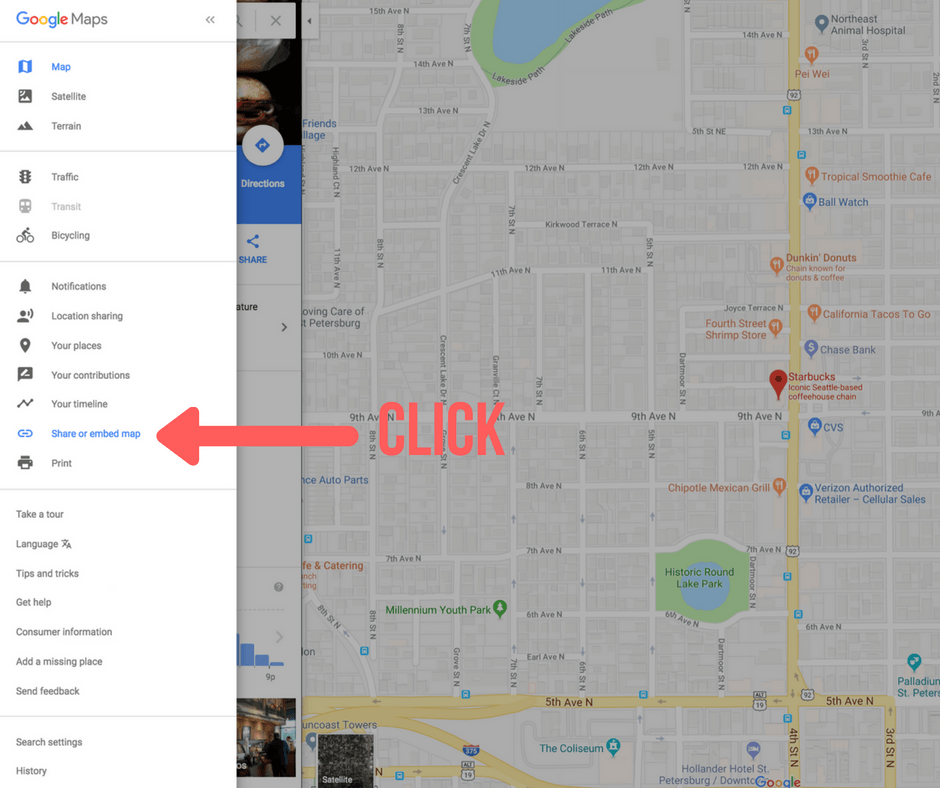 location menu google