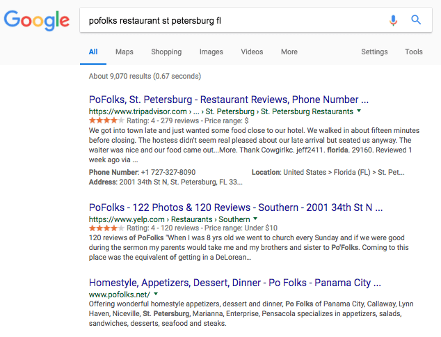 local search results without map