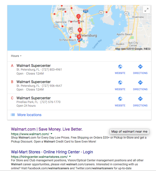 Google Maps Featured Snippet
