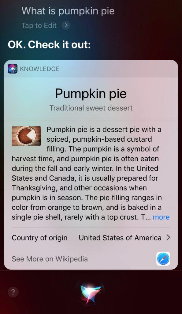 siri result for pumpkin pie