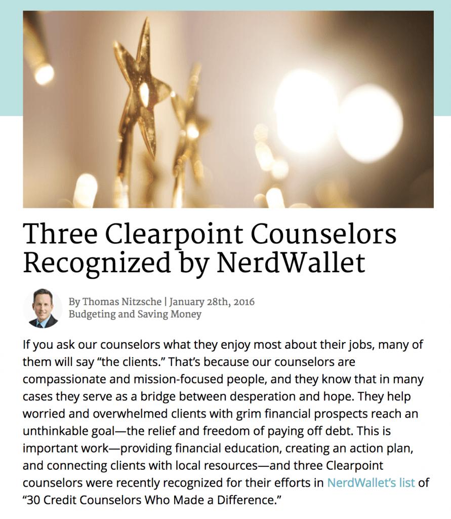 post announcing nerdwallet award