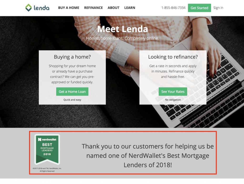 lenda homepage with nerdwallet badge