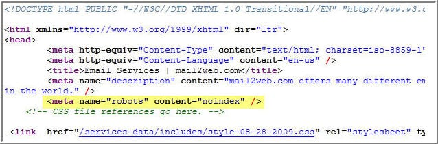 html noindex tag