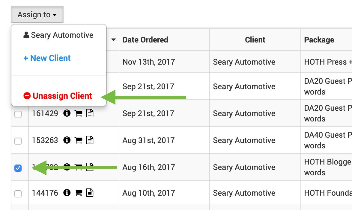 unassign orders