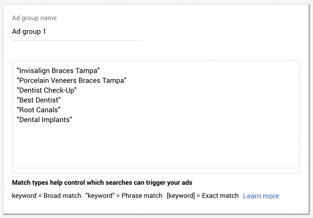 lots of keywords in 1 ad group