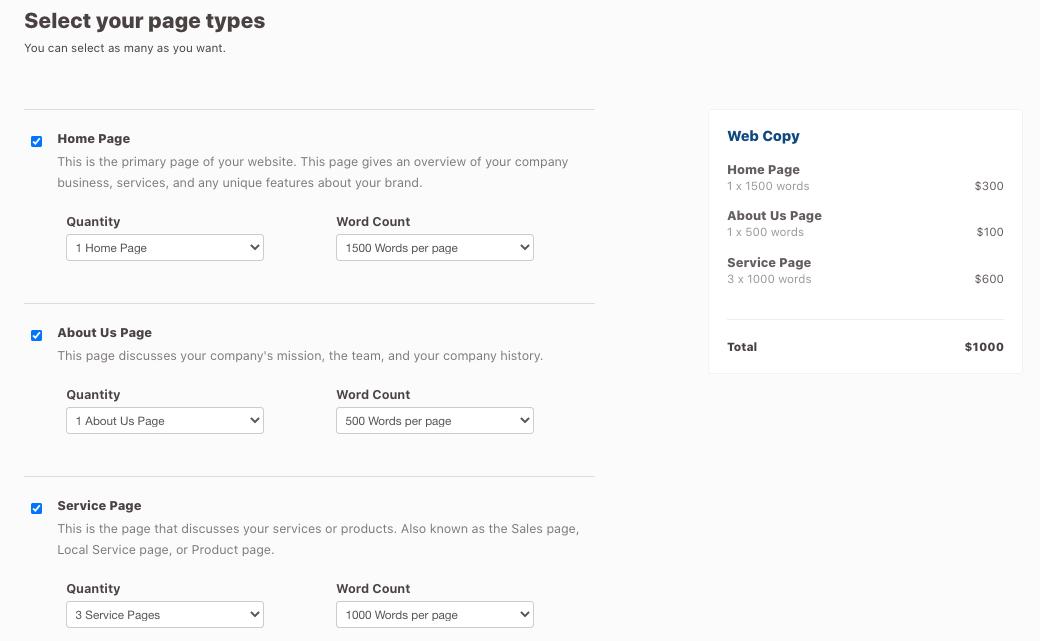 Customizing Web Copy Page Types