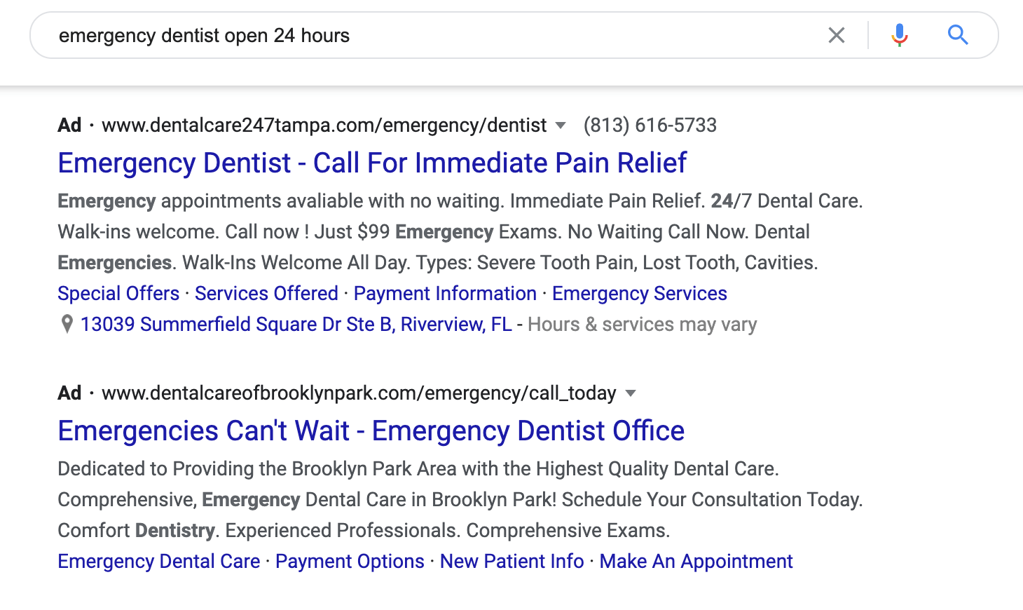 Examples of emergency dental ads.
