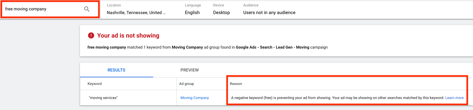 An example of how negative keywords work for a moving company.