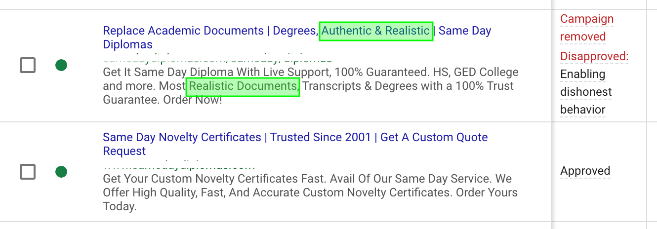 The difference between our original ads and the new approved ads.