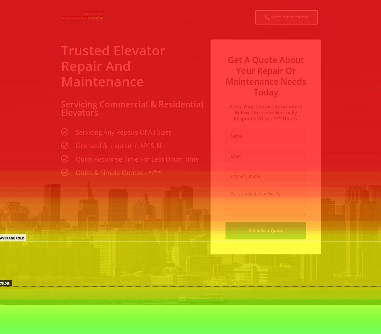 The homepage heatmap of an elevator repair company.