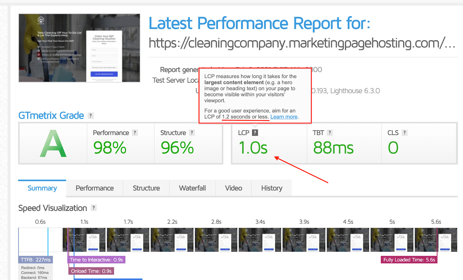 An example of checking the page speed of a cleaning company landing page.