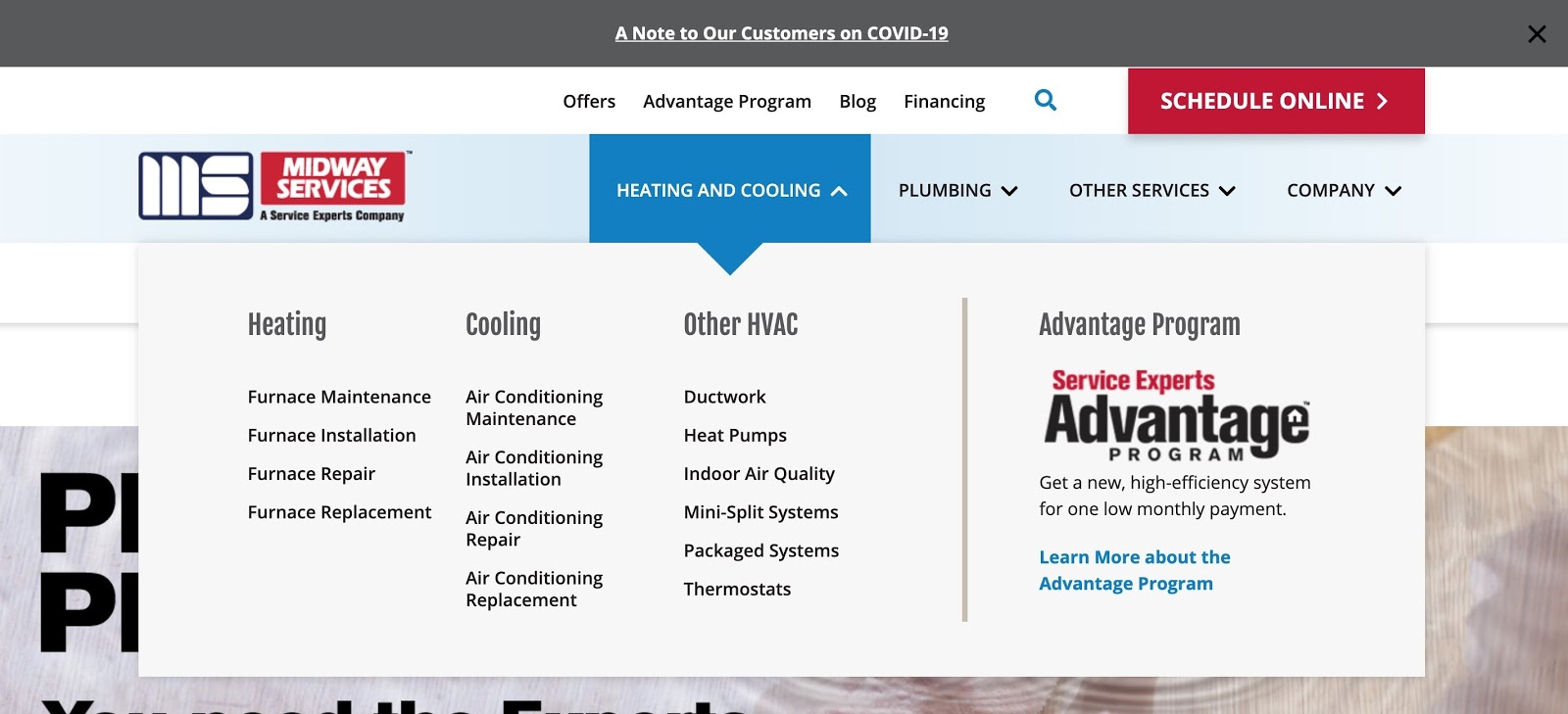 An example of an HVAC company's homepage.