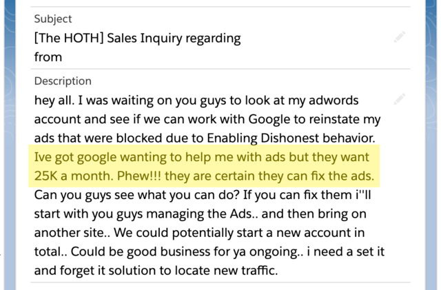 The client email asking for our help with disapproved ads.