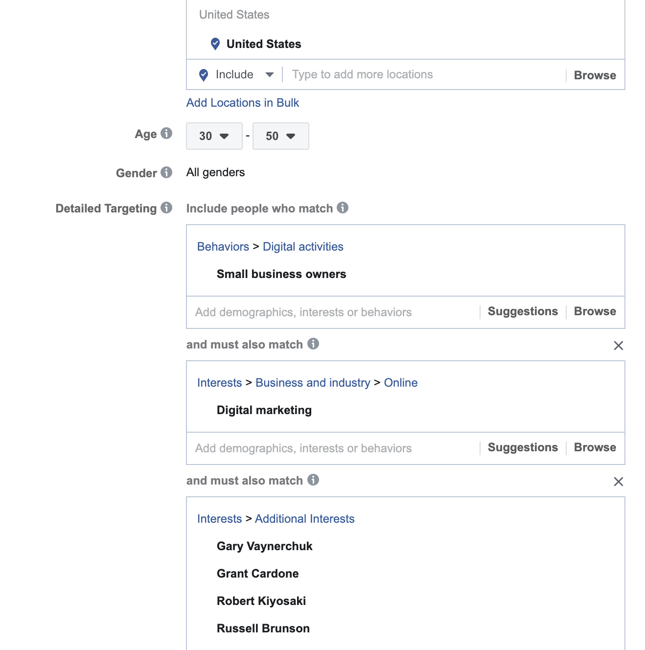 Advanced audience information in the Facebook Ads Manager.