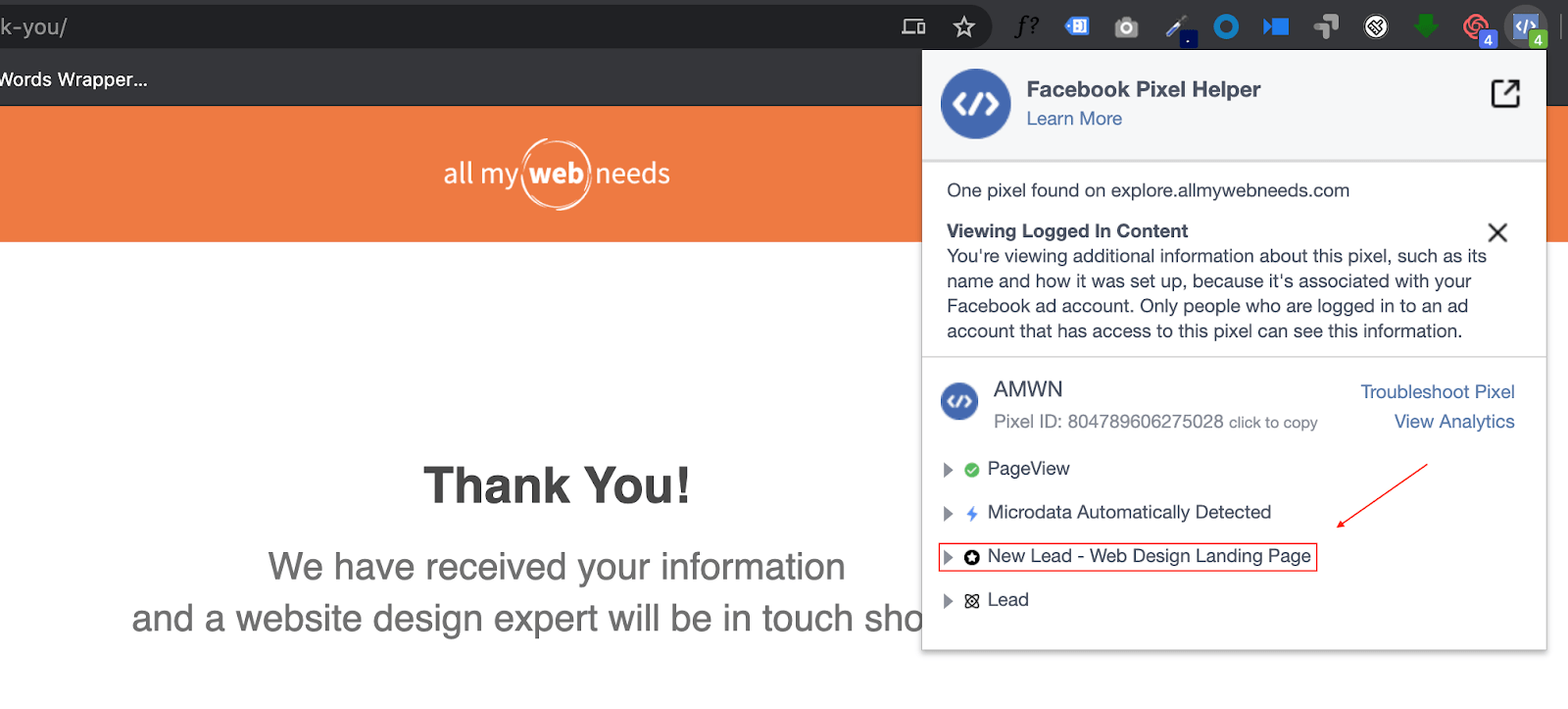 Confirming your conversions in the Facebook Pixel Helper.