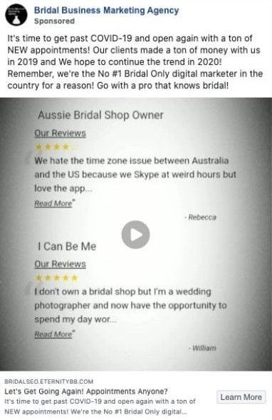 A bridal business that didn't use a CTA in their Facebook ad.