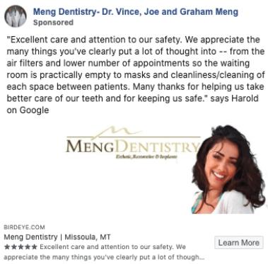 A dentist office that didn't use a CTA in their Facebook ad.