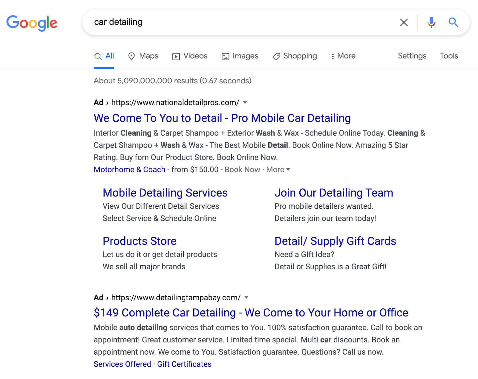 An example of a Google Ad for a car detailing company.