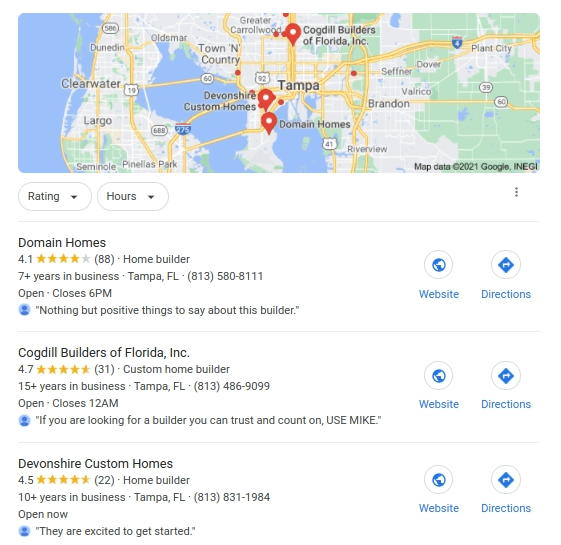A screenshot of the Google map pack.