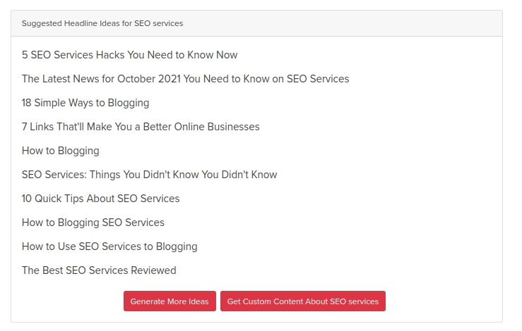 A list of 10 possible headlines generated by our free tool.